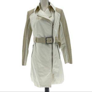 New York & Company Asymmetrical Zip Rain Coat Sz M